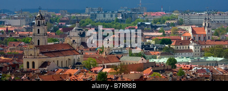 Panoramic view to the Old Town of Vilnius - Stock Photo