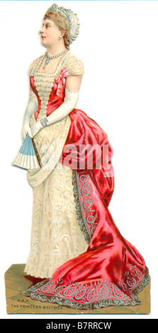 Chromolithographed die cut scrap of HRH The Princess Beatrice - Stock Photo