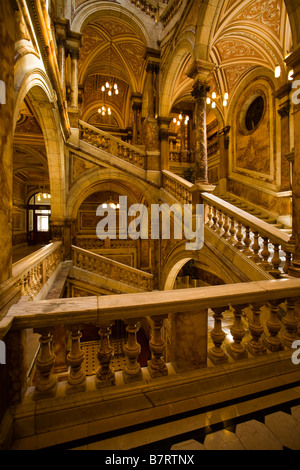 Marble staircase at Glasgow City Chambers. - Stock Photo