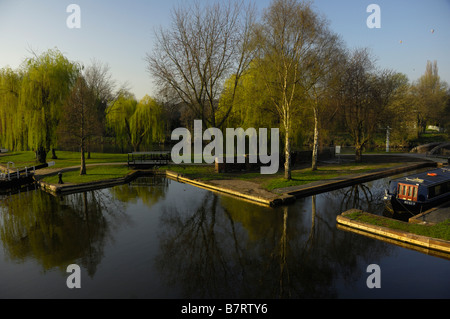 View of the lower basin on the Staffordshire and Worcestershire Canal and the River Severn at Stourport - Stock Photo