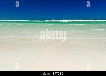 empty beach and sea summer Western Australia coast between Lancelin and Cervantes - Stock Photo