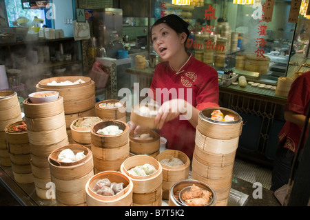 Dim Sum Food Republic Isetan mall market restaurant inside shopping mall Singapore Orchard road people man men woman - Stock Photo