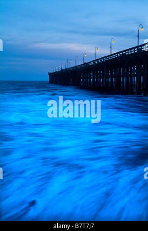 Waves Ocean Motion Blur & Ventura Pier, Ventura California USA - Stock Photo