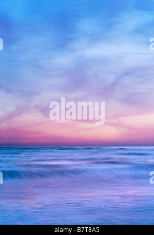 Beautiful Sunset With Ocean Waves Motion Blur, Ventura California, USA - Stock Photo