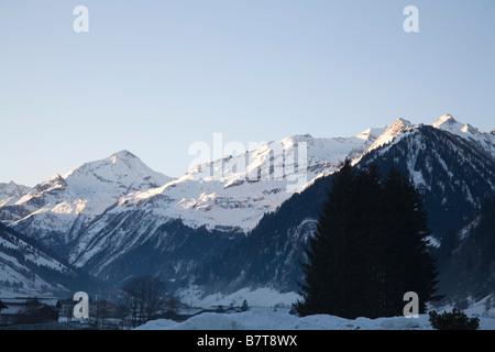 Pinzgau region Austria EU January View along Rauriser Sonnen valley in Austrian Alps of Rauriser Sonnen valley as - Stock Photo