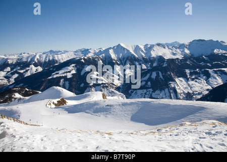 Pinzgau Region Austria EU January view across the snow covered jagged peaks of the Austrian Alps in Nationalpark - Stock Photo