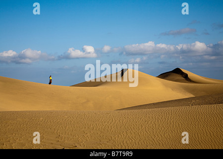Woman at the sand dunes of maspalomas gran canaria - Standing canarias ...