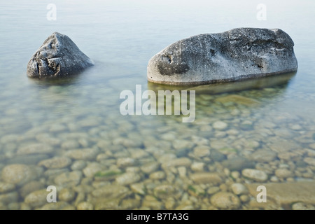 Weathered rocks in The Bruce Peninsula National Park, Ontario, Canada - Stock Photo