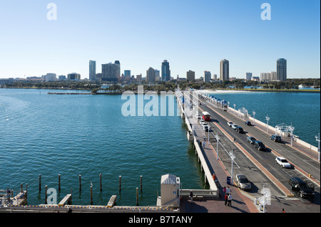 View of Downtown from St Petersburg Pier, St Petersburg, Gulf Coas, Florida, USA - Stock Photo