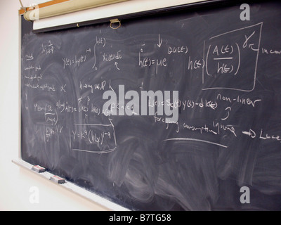 Algebraic and calculus equations in chalk on a blackboard used in a graduate-level economics course. - Stock Photo