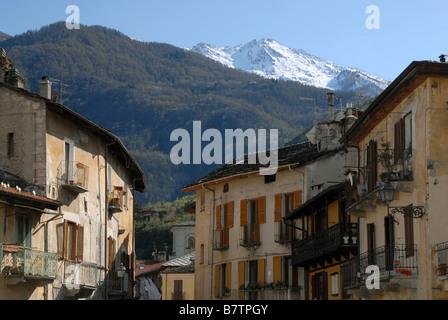 Via Martiri della Liberta as seen from Piazza San Giusto, Susa, Piedmont, Italy. - Stock Photo
