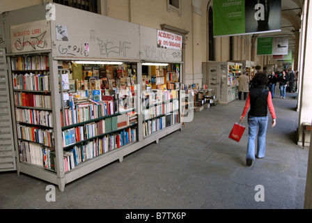 Booksellers on Via Po, Turin, Piedmont, Italy - Stock Photo