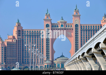 Dubai Atlantis Palm Hotel resort complex and monorail overhead railway track which will link into new Metro train - Stock Photo