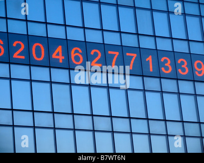 'The Metronome,' an installation artpiece and clock by Kristin Jones on the side of One Union Square in Manhattan. - Stock Photo