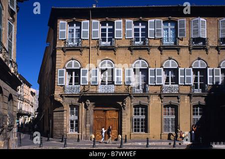 Hôtel d'Albertas (1725) & Place or Square d'Albertas, Aix-en-Provence or Aix en Provence, France - Stock Photo
