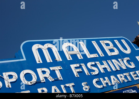 Malibu fishing port pier sign LA California USA - Stock Photo
