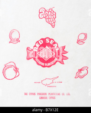 Citrus fruit wrapper from Cyprus - Red Seal Quality illustration on tissue paper. - Stock Photo