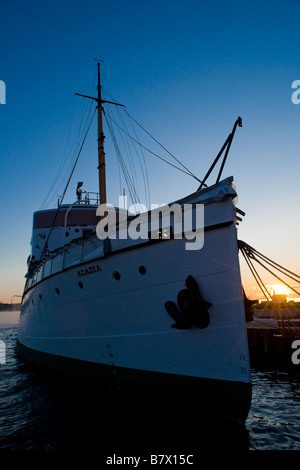 CSS Acadia at sunrise in Halifax Harbour, Nova Scotia, Canada. - Stock Photo