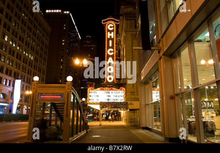 Chicago Theater at Night on State Street Chicago, Illinois - Stock Photo