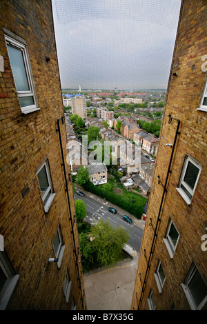 A view from Wayman Court towerblock council housing in Hackney, East London, England - Stock Photo