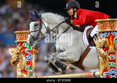 Laura Kraut USA August 18 2008 Equestrian during the Beijing 2008 Summer Olympic Games Show Jumping Competition - Stock Photo