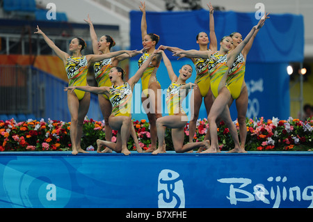 Japan team group JPN AUGUST 22 2008 Synchronized Swimming Beijing 2008 Olympic Games Team Event Technical Routine - Stock Photo