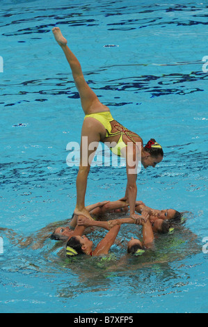 United States team group USA AUGUST 22 2008 Synchronized Swimming Beijing 2008 Olympic Games Team Event Technical - Stock Photo