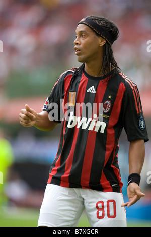 Ronaldinho August 31 2008 Europe Italy Soccer Football Serie A 2008 2009 match day 1 AC Milan vs Bologna 1 2 Milan - Stock Photo