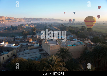Hot Air Balloons over West Bank River Nile Luxor - Stock Photo