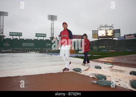 Daisuke Matsuzaka Boston Red Sox Pitcher Number 18 Fenway Park Catch Rain Baseball Sport Leisure Game - Stock Photo