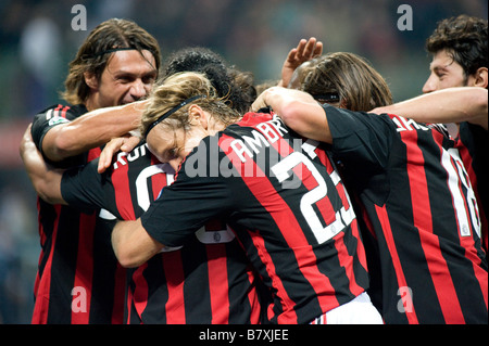 AC Milan team group SEPTEMBER 28 2008 Football Ronaldinho of AC Milan celebrates his goal during the Italian quot - Stock Photo
