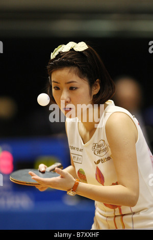 Naomi Yotsumoto JANUARY 14 2009 Table Tennis All Japan Table Tennis Championship Mixed Doubles at Tokyo Metropolitan - Stock Photo