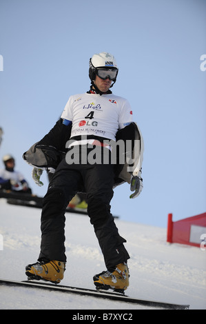 Simon Schoch SUI JANUARY 20 2009 Snowboarding FIS Snowboard World Championships mens parallel giant slalom in Gangwon - Stock Photo