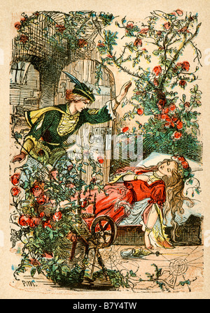 Sleeping Beauty from a Berlin edition of Grimms Fairy Tales 1865. Hand-colored woodcut illustration - Stock Photo