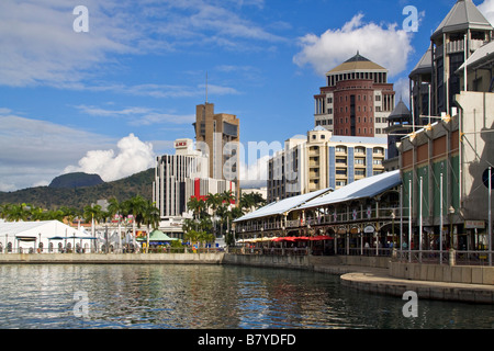 Port Louis waterfront downtown city center Mauritius Africa - Stock Photo