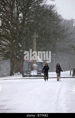 Winter on Park Walk in Shaftesbury in Dorset, England - Stock Photo