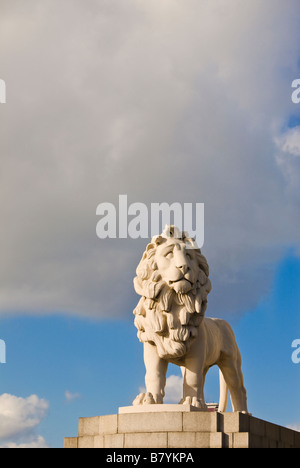 South Bank Lion statue by Westminster Bridge London England UK - Stock Photo