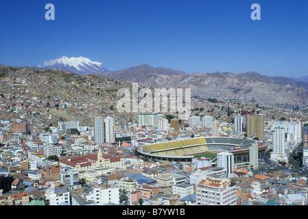 Central La Paz, Hernando Siles Olympic Stadium and Mt Illimani, Bolivia - Stock Photo