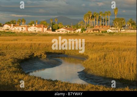 Houses along Tijuana River Estuary, US-Mexico Border, San Diego area, California - Stock Photo
