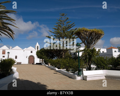 The town square in Tinjano Lanzarote Canary Islands - Stock Photo