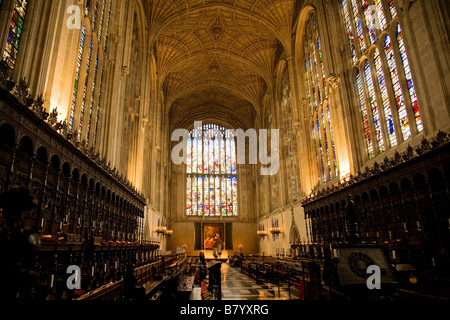 King's College Chapel Cambridge interior - Stock Photo