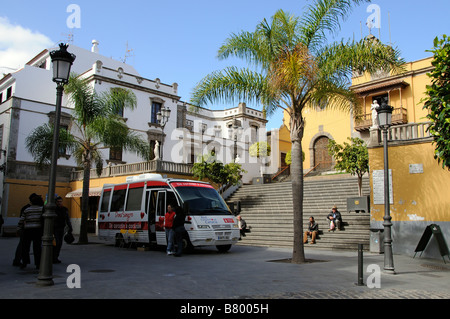 Spanish blood transfusion service bus donor vehicle parked in Icod town centre Tenerife Canary Islands - Stock Photo