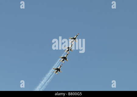 The popular and famous aerial performance group The Thunderbirds - Stock Photo