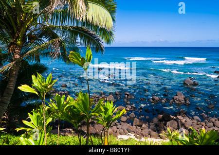 Hideaways Beach and blue Pacific waters Island of Kauai Hawaii - Stock Photo