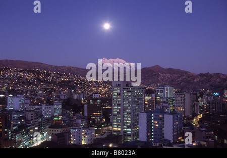 Full moon rise over Mt Illimani and central La Paz, Bolivia