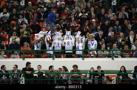 Fans of British tennis star Andy Murray demonstrate their support in Qatar final, January 2009 - Stock Photo
