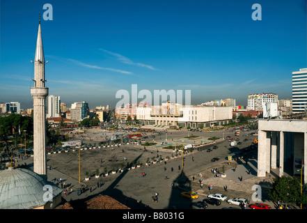 skanderberg main square tirana albania balkans - Stock Photo