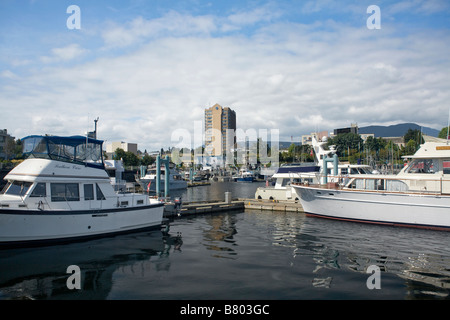 BRITISH COLUMBIA -  Small boat harbor in downtown Nanaimo on Vancouver Island. - Stock Photo