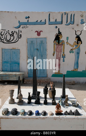 Replicas of Egyptian antiquity for sale in a souvenirs shop in Luxor Southern Egypt - Stock Photo