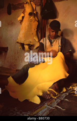 Leather worker cuts saffron dyed animal skin at Chouwars tannery in the medina/old town,  Fes el-bali, Fes, Morocco - Stock Photo